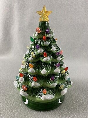 """Ceramic Light Up Multi Color Musical Christmas Tree 8.5"""" Tall Battery Operated"""