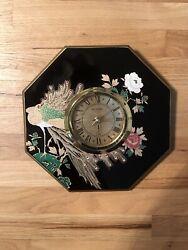 Miyabi Japan Octagon Wall Clock Asian Oriental Peacock Famille Rose Lacquer