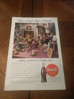 1944 Coca-Cola Ad Have A Coke Merry = Christmas Vintage Magazine Ad