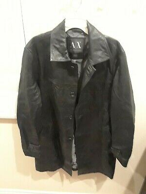 A/X ARMANI EXCHANGE MENS BLACK Leather lamb skin jacket coat size large