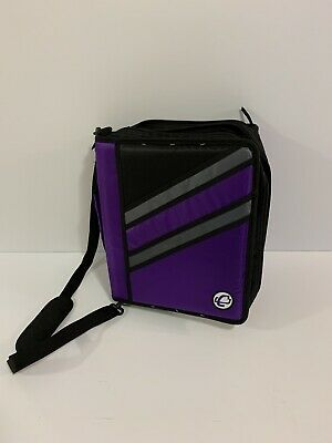 School Supplies Case It 2- 3-ring Binder Purple Black Adjustable Strap Z-176