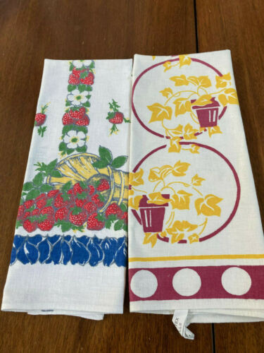 NICE LOT OF *2* VINTAGE STARTEX TAGGED PRINT KITCHEN/TEA TOWELS-PERFECT!