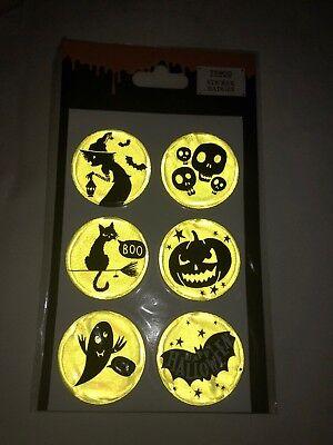 6x Tesco Halloween Spooky Luminous Reflective Neon Yellow Safety Stickers - Tesco Halloween