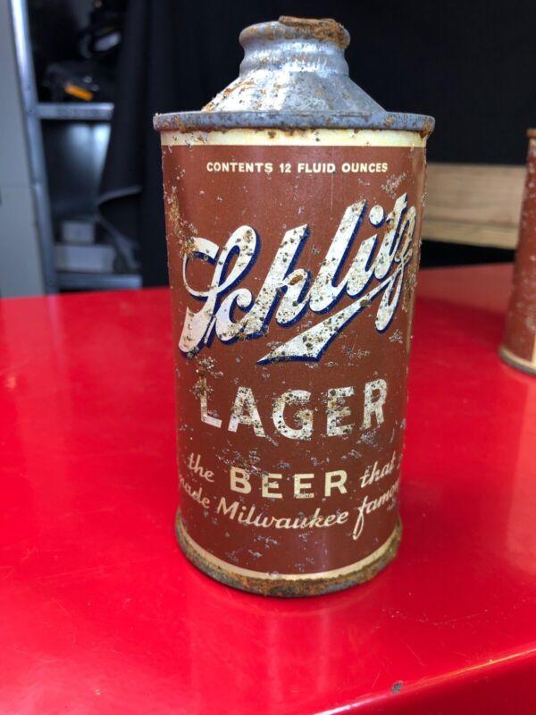 Tough SCHLITZ LAGER Beer Flat Bottom Cone Top Can - Super Tough #1