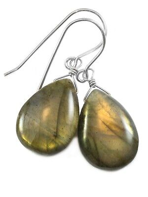 Labradorite Earrings Smooth Pear Teardrops Simple Dangle Drops 14k Gold Sterling