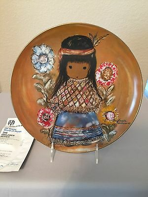 Indian Girl Plate - DeGrazia Limited Edition Little Cocopah Indian Girl Plate AUTOGRAPHED #257/500