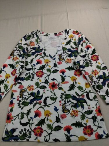 IB Diffusion - 3/4 Sleeve Floral V-Neck Shirt - Women - Large - Multicolor