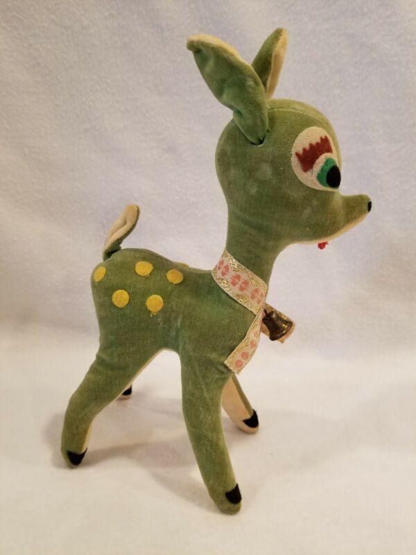 """Vintage Sawdust Green Velvet Deer w/bell Christmas Japan 8"""" Wire in Ears (2)"""