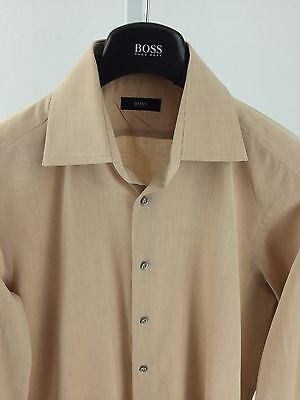 Hugo Boss Mens Medium 39/15.5 Light Brown Long Sleeve Button Front K-67