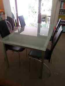 Glass Dining Table and 4 x Chairs Spring Hill Brisbane North East Preview