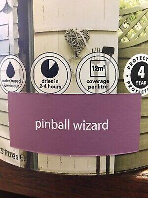 PINBALL WIZARD 2.5 litresGARDEN COLOUR EXTERIOR WOOD PAINT LONG LASTING FENCES