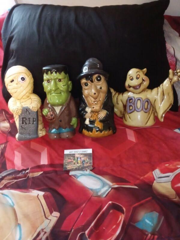 VTG Halloween Decor Ghost Mummy Frankenstein & Witch Blow Mold Set pre-owned