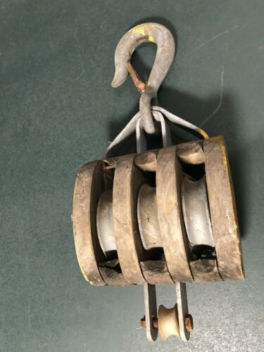 LARGE ANTIQUE WOOD/WOODEN SHIP/BOAT BLOCK & TRIPLE (3) WHEEL TACKLE/PULLEY