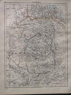 1902 VICTORIAN MAP ~ ABYSSINIA KUNAMA TIGRE HABESH SHOA GODJAM