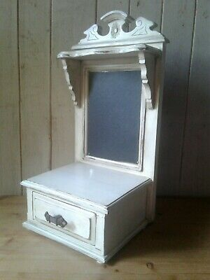 Antique Edwardian period painted wooden vanity mirror with drawer