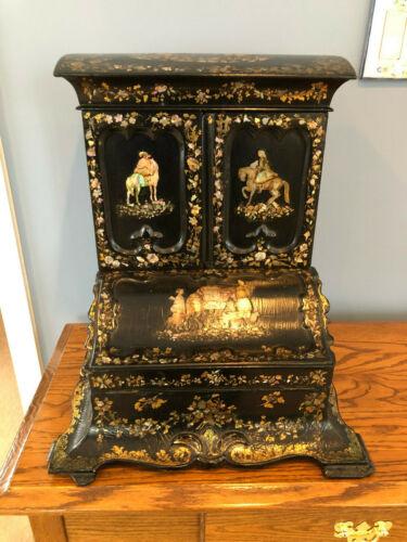 Victorian Lacquer & Mother-of-Pearl Wood / Paper Mache English Desk Organizer