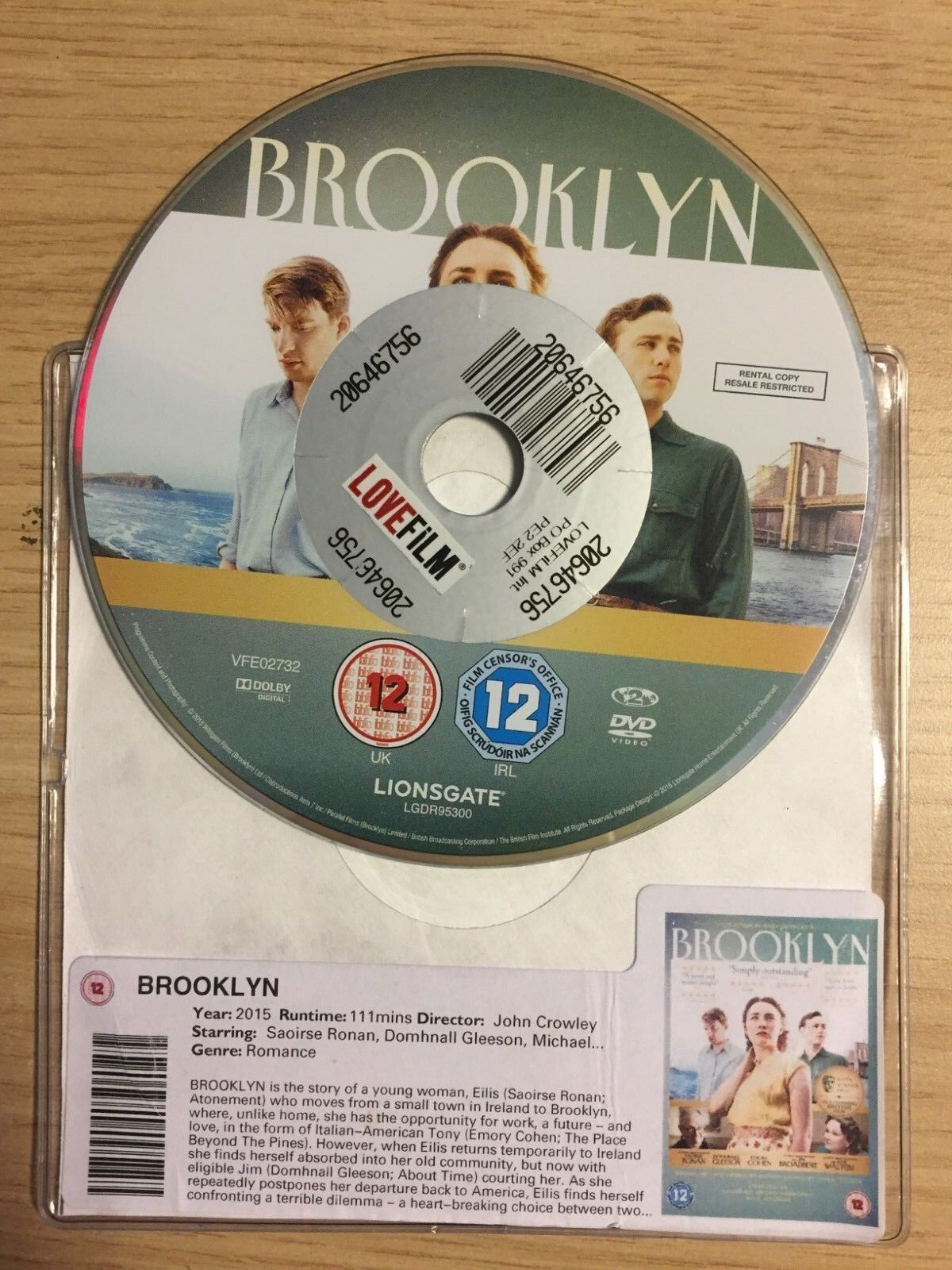 BROOKLYN (DVD, 2015) DISC ONLY