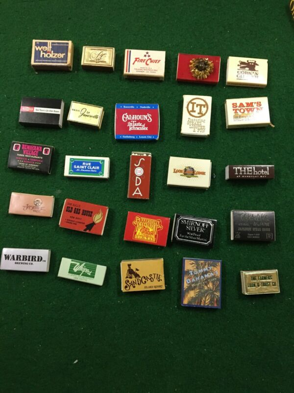 #5 Lot of 25 Vintage Wooden Matchbox Matches - Hotels, Casinos, Restaurants