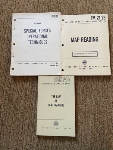 3 Field Manuals, 31-20 (Special Forces), 27-10(Law Warfare), 21-26 (Map Reading)