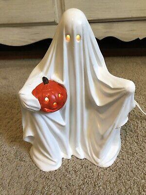 "Vintage Handmade Ceramic Halloween Ghost With Pumpkin Light Up Lamp 10"""