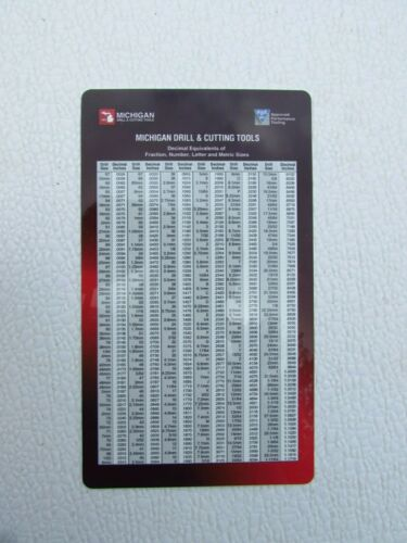 """DECIMAL POCKET CHART/ WITH TAP DRILL SIZES--3-1/2"""" X 6"""""""