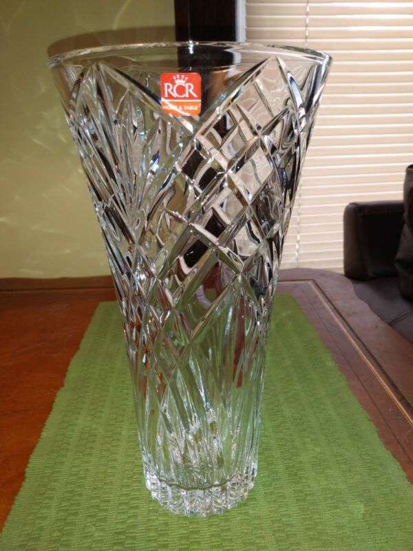 """RCR Home & Table 12"""" Orchidea Crystal Vase Brand New In Box Gorgeous No Damage"""