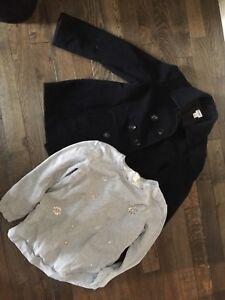 Black wool pea coat and H&M sweater