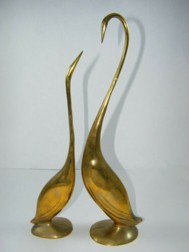 "BRASS LONG NECK SWAN COUPLE 15-3/4""  AND 13-1/2"" TALL"