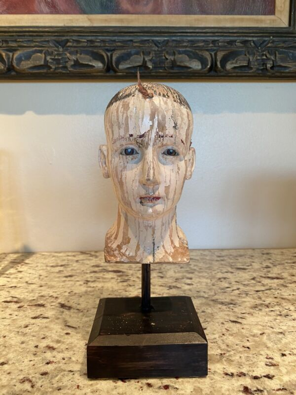 18th century Spanish Colonial head bust glass eyes Philippine Filipino santo