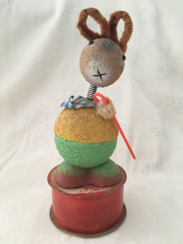 Vintage W. GERMAN MICA Easter Rabbit Bobble Head Double Candy Container #25