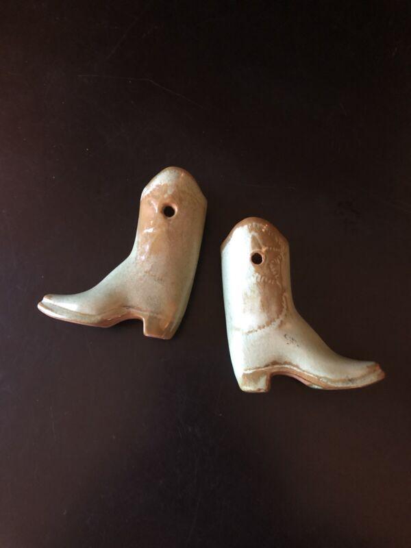 "A Pair Of Vintage Miniature Frankoma Cowboy Boot Bud Vases 3.5"" Tall"