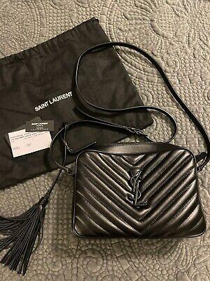 Saint Laurent Lou Camera Bag Matelasse Chevron Black Leather Small Authentic