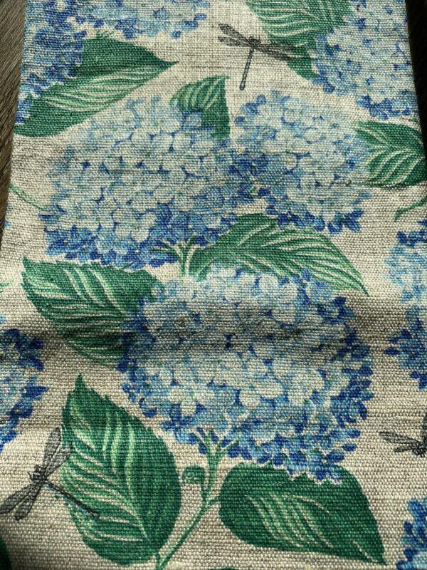 Vintage EUC Kay Dee Linen Tea Towel-Blue Hydrangea Flowers Green Lvs & Dragonfly