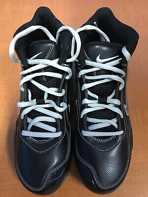 NEW Nike Adult Air Baseball Metal Cleat Shoes Color Black White Silver Size 6