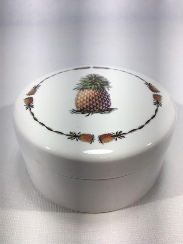 Vintage Melamine Playful Pineapple Coaster Set Of 6 With Holder