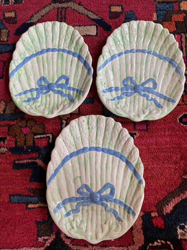 Vintage Asparagus Ribbon Bow Plates Blue Green (3) Grandmillennial Regency