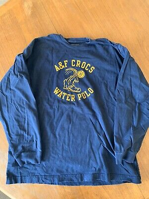 Abercrombie & Fitch Water polo T-Shirt Blue Cotton Graphic Long Sleeve Men's XL