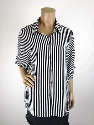 Vince Camuto Striped Button Front Top Size L Dolman 3/4 Sleeves