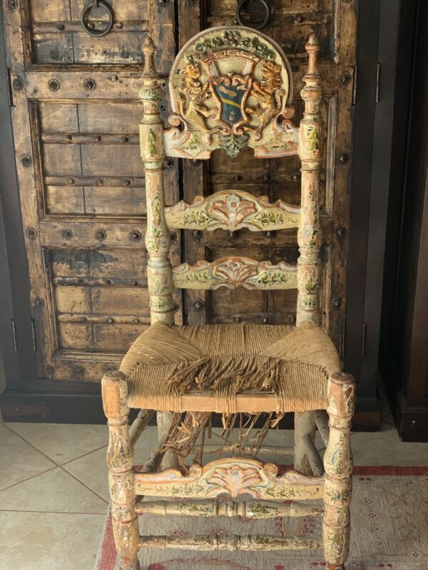 18Th Century Spanish Colonial Chair W/Hand Painting, Two Lions, A Coronet +Crest