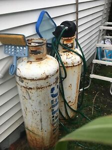 Two 100lb propane tanks