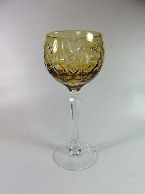 Cut To Clear Crystal Goblet  Yellow 7 1/2