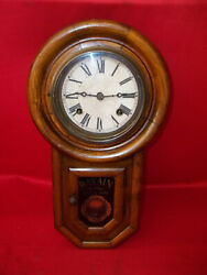 VERY  NICE LOOKING OLD HATAIN  8 DAY  WALL CLOCK       !!!