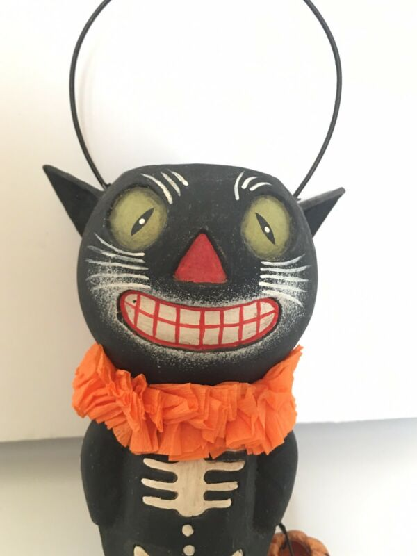 Collectible Bethany Lowe Halloween Black Cat Bucket Head TJ6234