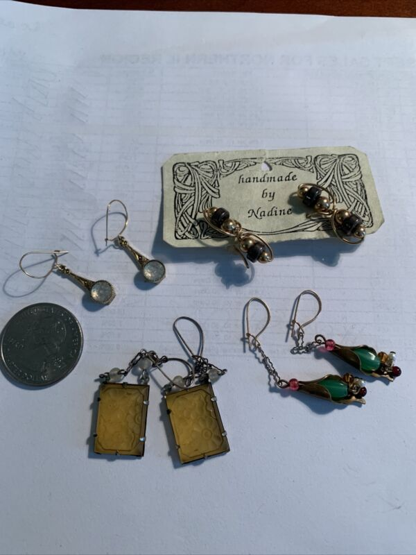 Vintage Artisian Earrings Lot Of 4