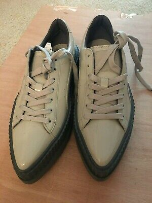 W8.5 Gray Puma X Rihanna Fenty Pointy Toe Patent Dove Glacier Creepers Sneakers