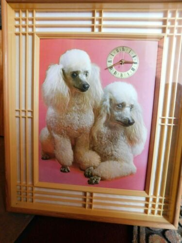 Vintage Nova Rico  3 Dimensional Poodle Wall Clock Glass & Wood Framed Italy