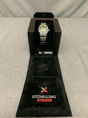 Stuhrling Men's Silver Tone Skeleton Automatic St-90650 Watch w/ box Free Ship