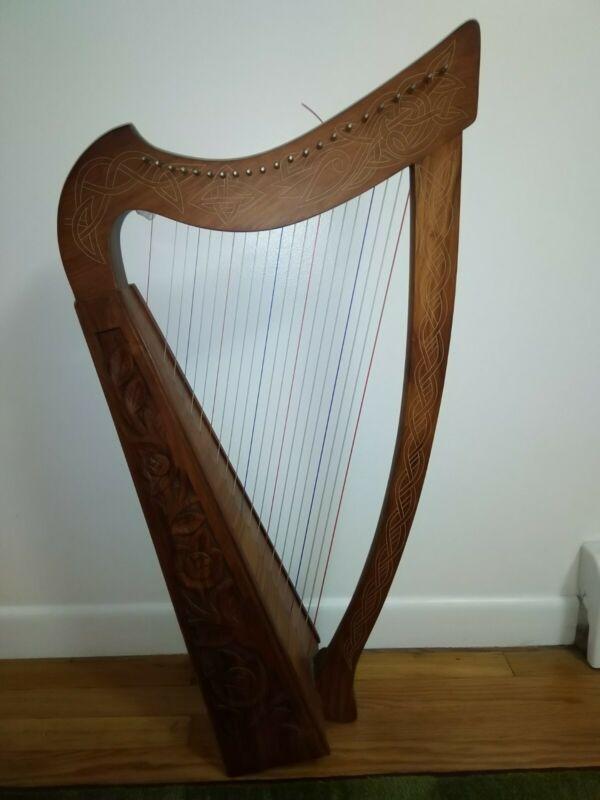 Mid East Harp Brand, 22 Sting, Celtic Design, Cherry Wood