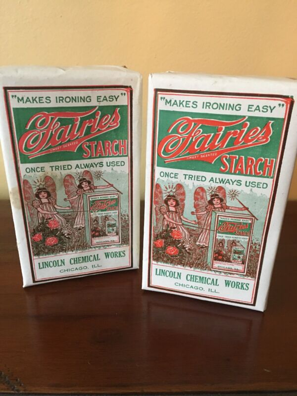 Vintage 2 original Fairies Starch Box Samples w/ contents great graphics