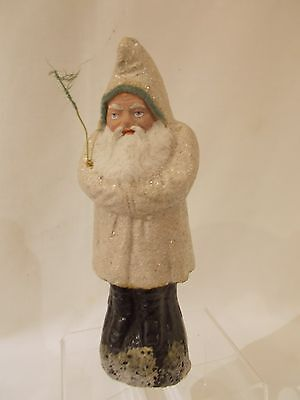 """☆ Antique 8.5"""" WHITE Robe Santa / Belsnickle German Candy Container w/SNOW #24 ☆"""